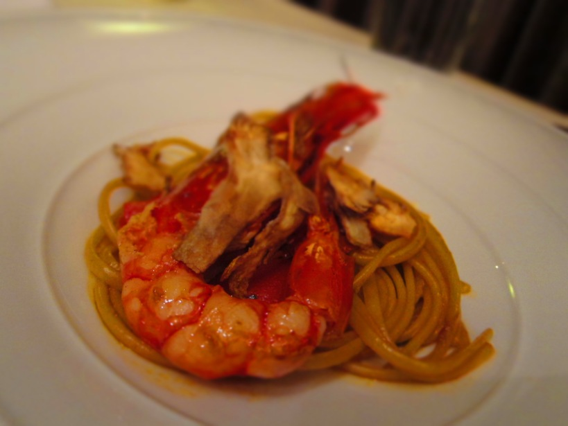 Linguine with Canary Island Red Prawn and Crispy Artichokes