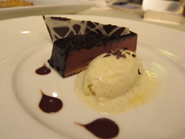 Dark Chocolate and Hazelnut Praline cake with Vanilla Ice-cream