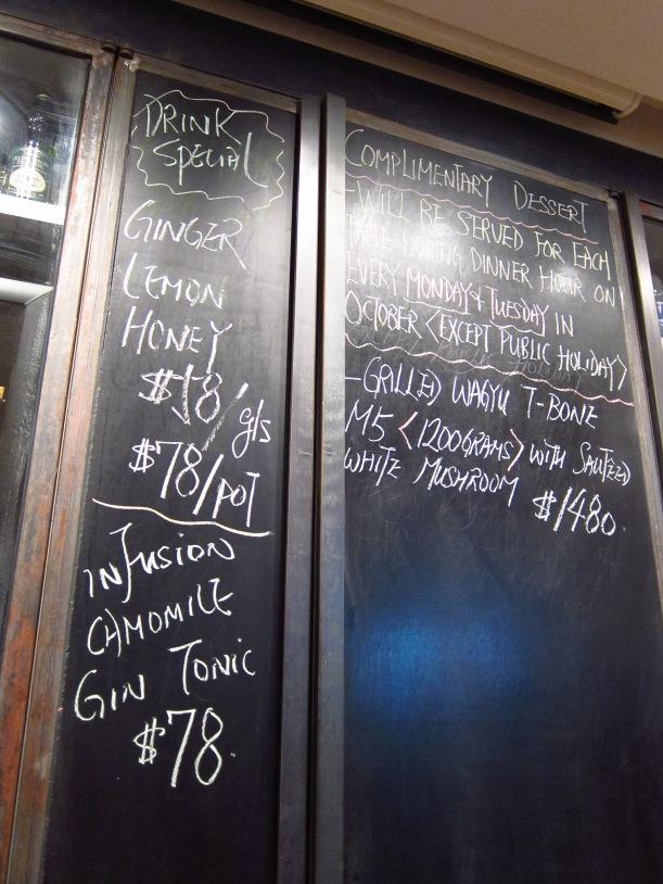 Blackboard showing drinks specials