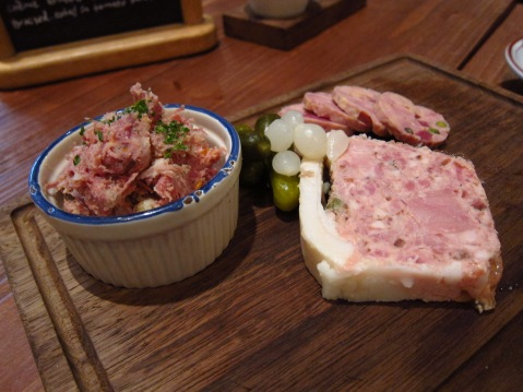 Homemade pork paté, duck paté and duck rillettes
