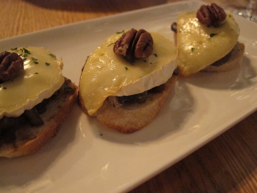 Marin Camembert and mushroom bruschetta