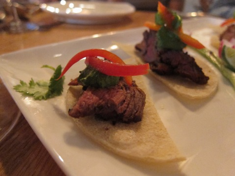 California tacos with grilled flank steak