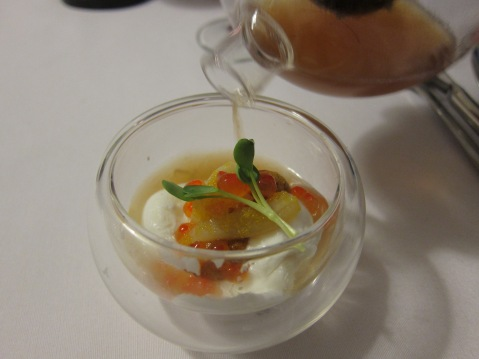 Poached Egg with Japanese Uni and Ikura with special chef consommé