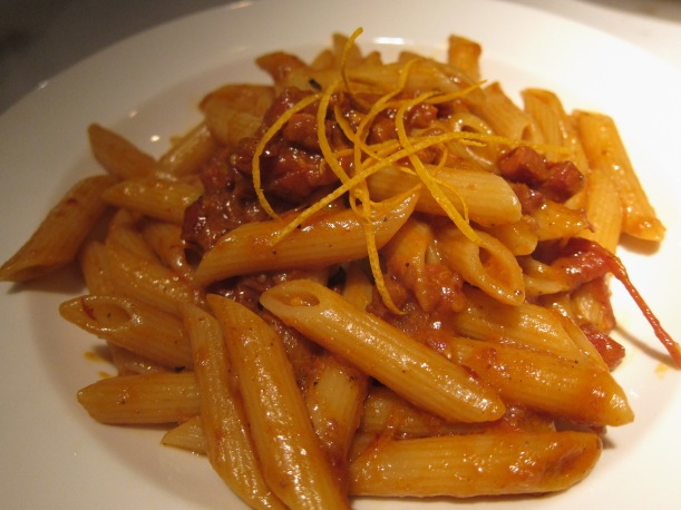 Penne with Chorizo and Cherry and orange zest