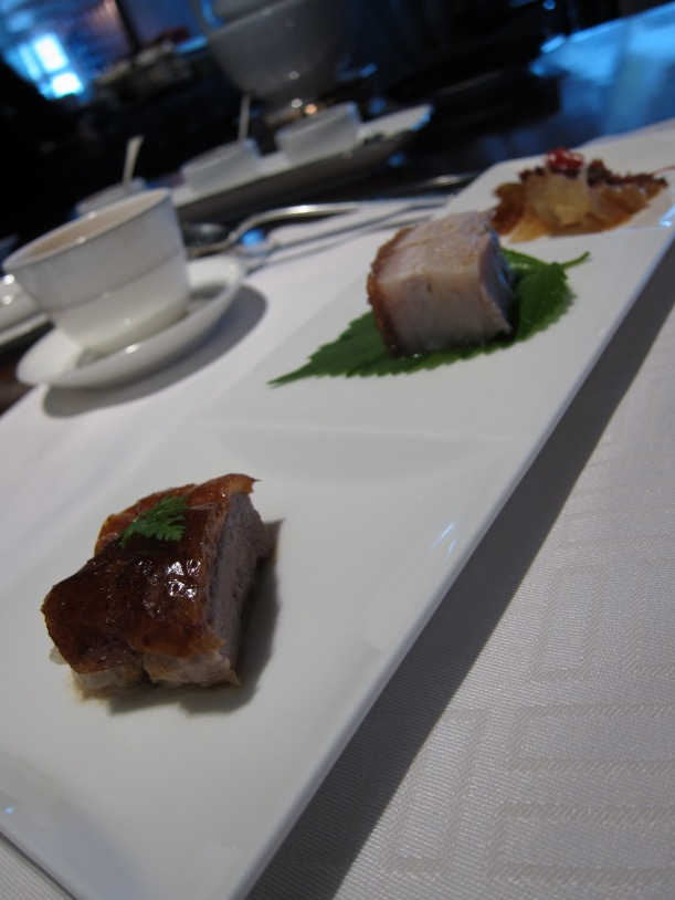 Barbecue combination- crispy pork belly, roast goose and marinated jellyfish