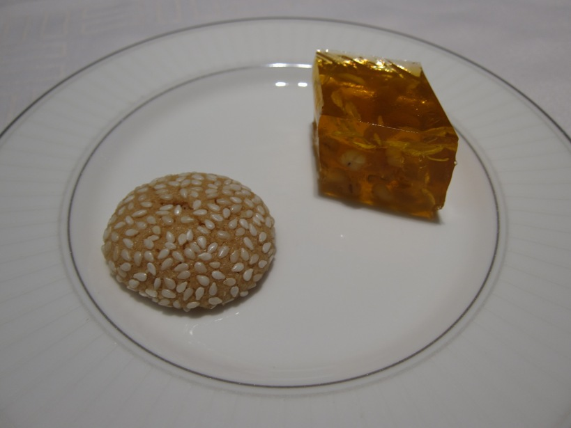 Chrysanthemum jelly with barley and a sesame biscuit