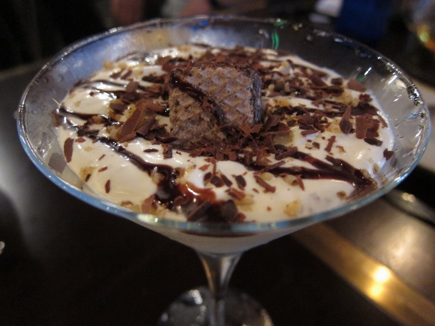 Chilled Walnut Cream with Caramelized Walnuts and Frangelico Liqueur