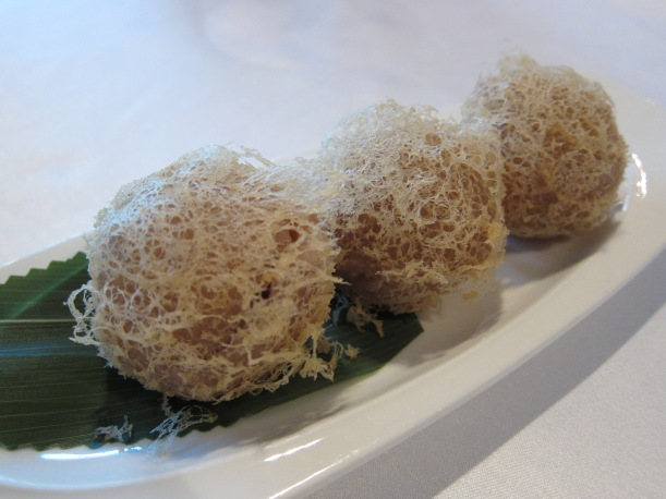 Crispy taro puffs with diced chicken and foie gras