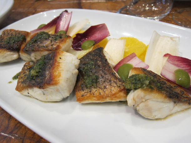 Pan fried market fish with dill mayonnaise, green olives and orange