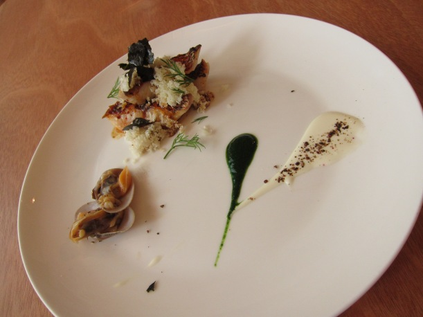 Red snapper served with grated cauliflower, Nori, clams, a watercress emulsion and yoghurt