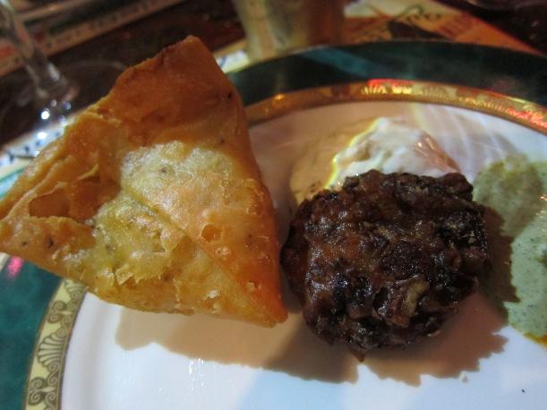 Samosas and onion bhajis