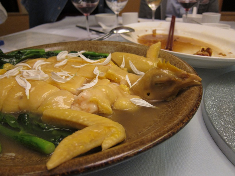 Steamed Chicken Stuffed with Shrimp Paste- a dish of hot discussion! How on earth do they do it? I loved this. Silky, rich chicken skin and chicken meat replaced with a smooth shrimp paste.
