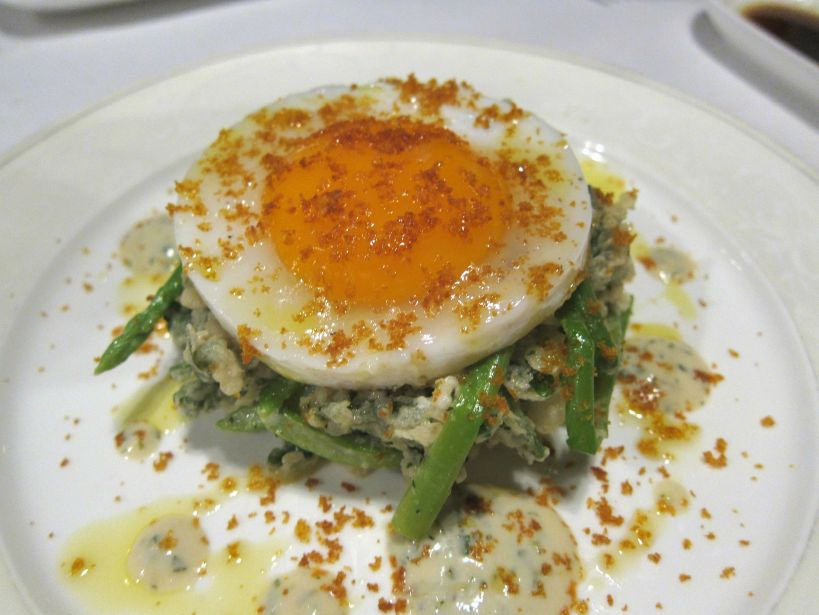 Sunny Side Up Duck Egg with crispy watercress, Thai asparagus, Bottarga and horseradish vinaigrette. This was a dream to look at and the egg was fabulous but I couldn't really detect the bottarga. The dish was delicious overall but I didn't think they needed to make the watercress crispy!
