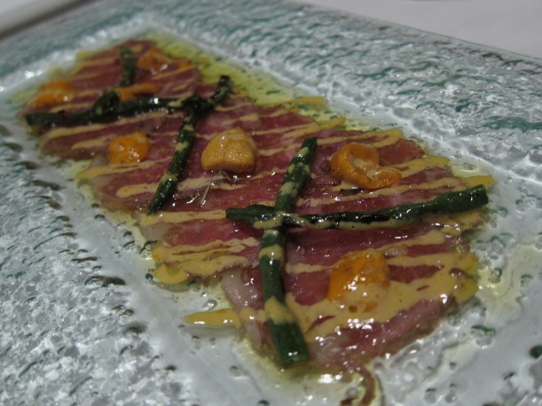 Prime beef carpaccio- the combination of beef with sea urchin was quite good , but didn't wow as much as the other dishes.