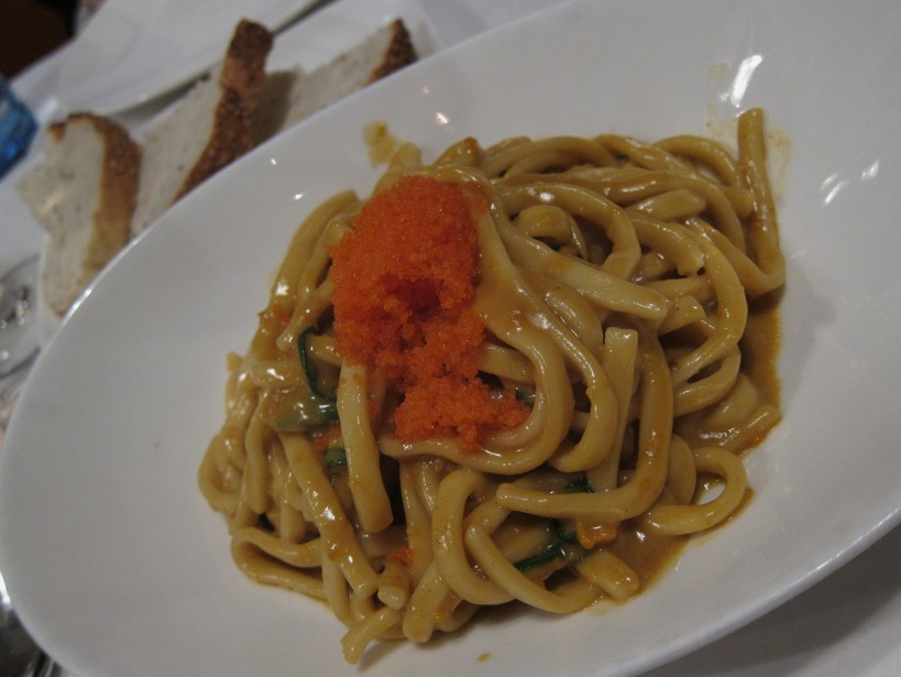 Sea Urchin Chitarra- I've had this dish before but the Chitarra was surprisingly thick this time, a detail we all pointed out. Apparently they have just changed their chitarra pasta cutter, think they need to make some adjustments otherwise this was almost like an udon. Great dish for sea urchin and crab roe fans.