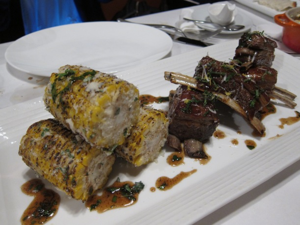 New Zealand Lamb Short RIbs with grilled corn. Lamb is one of my favourite meats and this was cooked to perfection. Some found it a bit too 'lamby' but lamb lovers will think this is ace. The corn was mouthwateringly sweet.